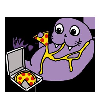 Purple Walrus eating pizza by cystemic