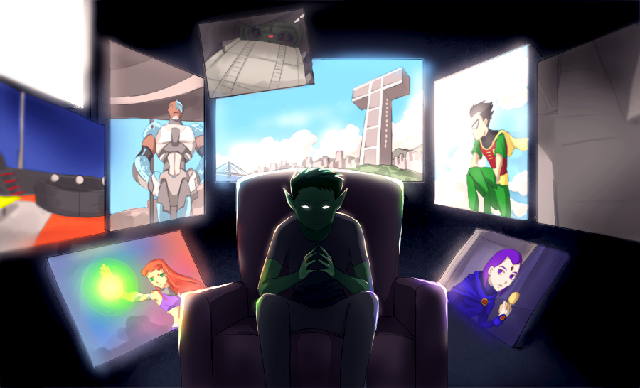 Commission Beast Boy Watching By Momijigirl