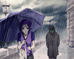 Commission: In the rain by momijigirl