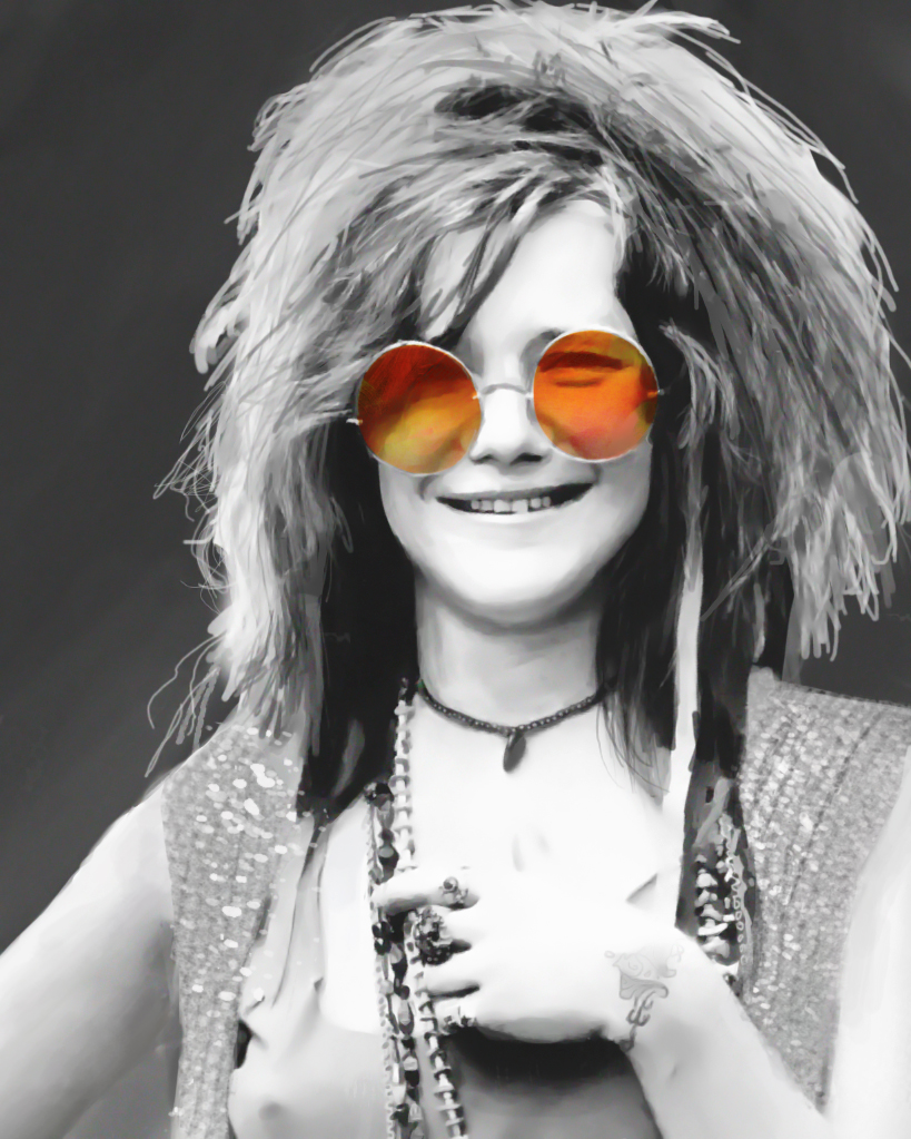 It's just a picture of Rare Janis Joplin Drawing