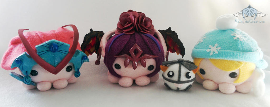 Triple Threat LoL custom octopus plushes by ValkyriaCreations