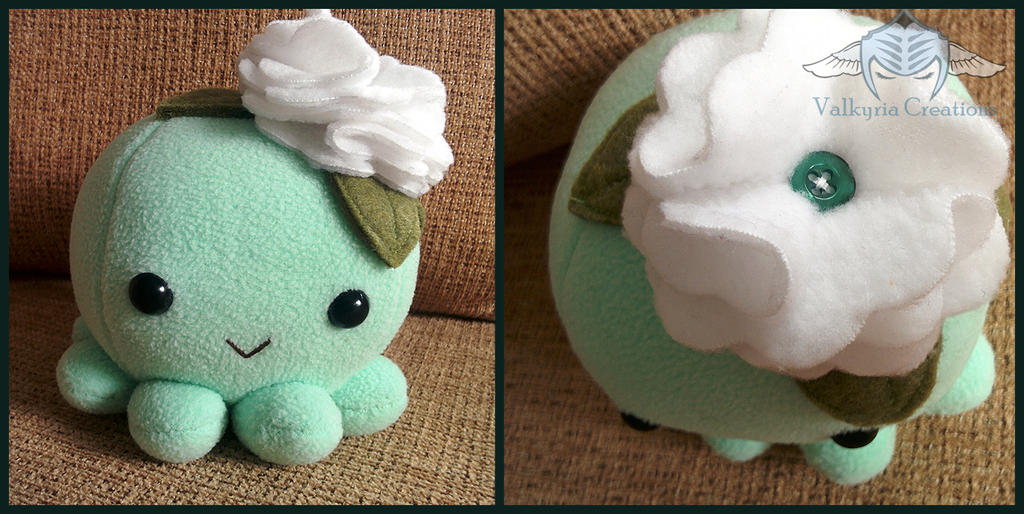 Mint Floral Octo plush by ValkyriaCreations