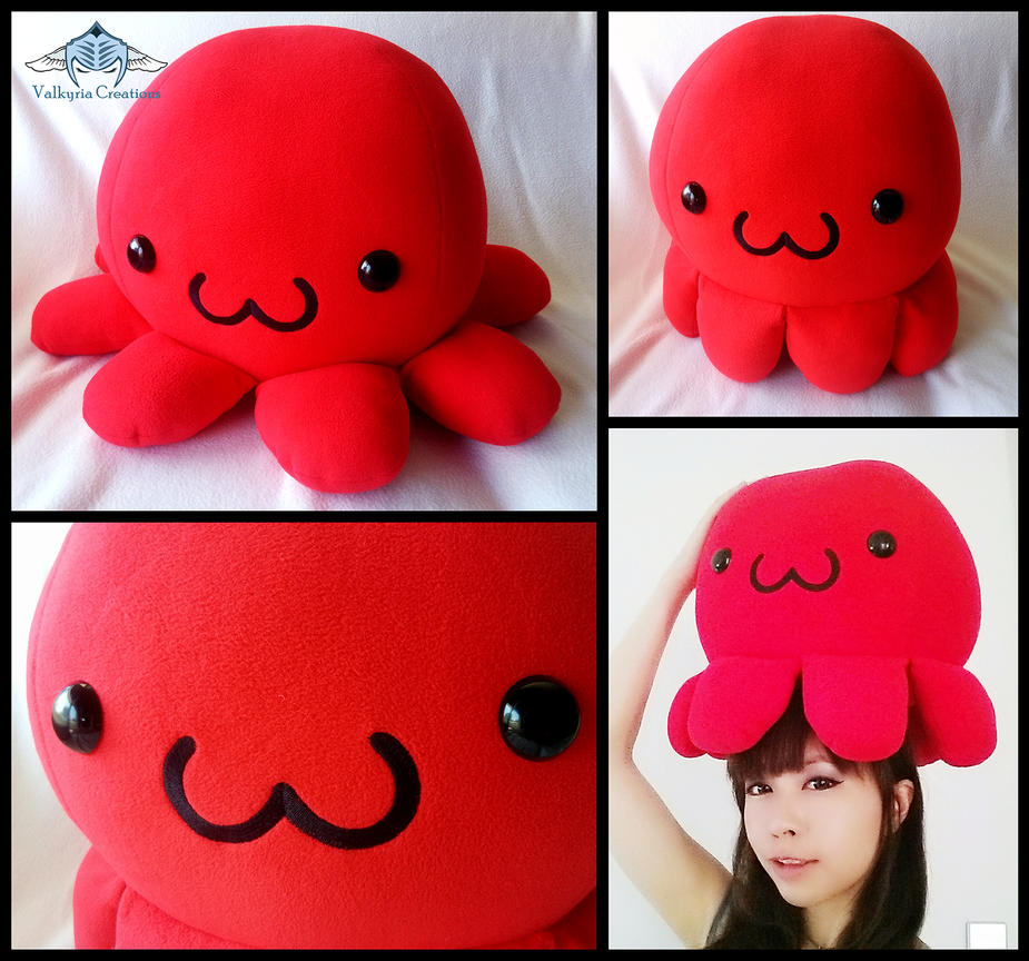 Custom Giant red octopus plushie by ValkyriaCreations