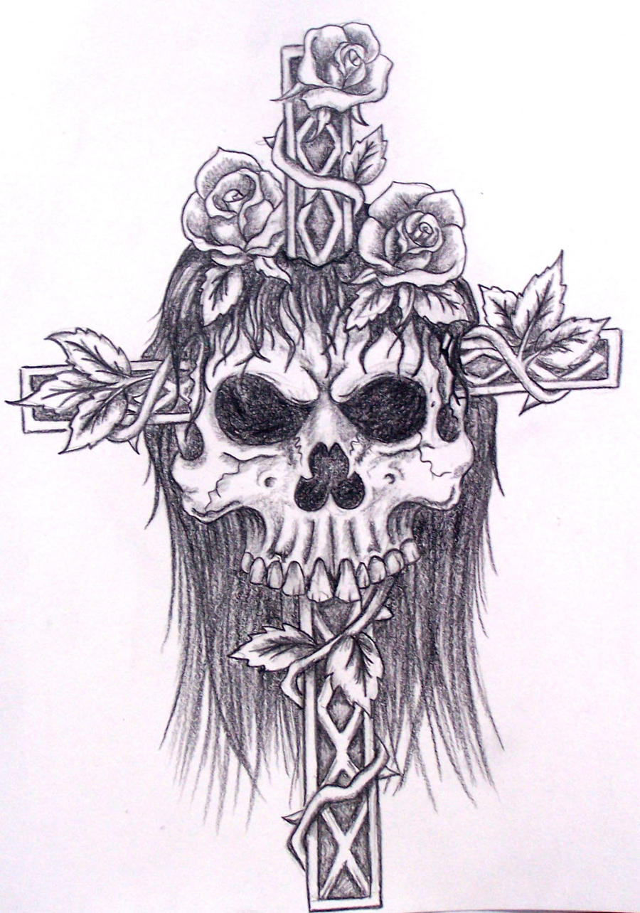 skull with cross and roses by davart11 on DeviantArt Skull And Cross Drawing