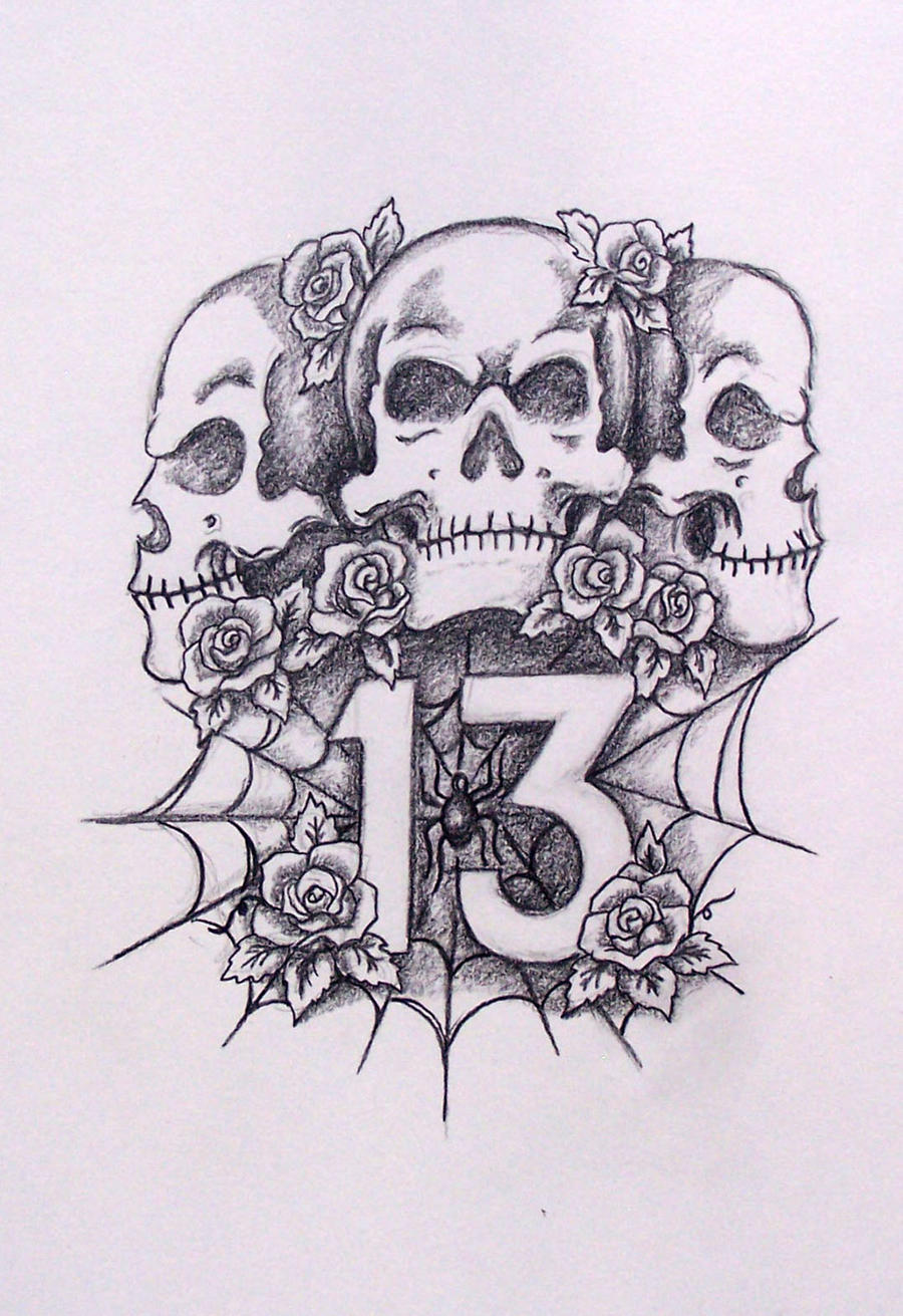 Skulls With 13 And Roses By Davart11 On DeviantArt