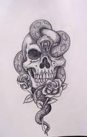 Skull snake roses by davart11