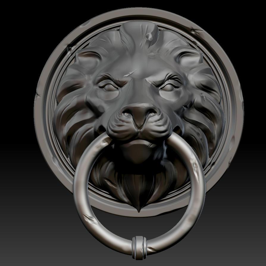 3d lion head door knocker by soulstice3d on deviantart - Lion face door knocker ...