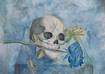 Skull In Blue by AliceVGonzalez
