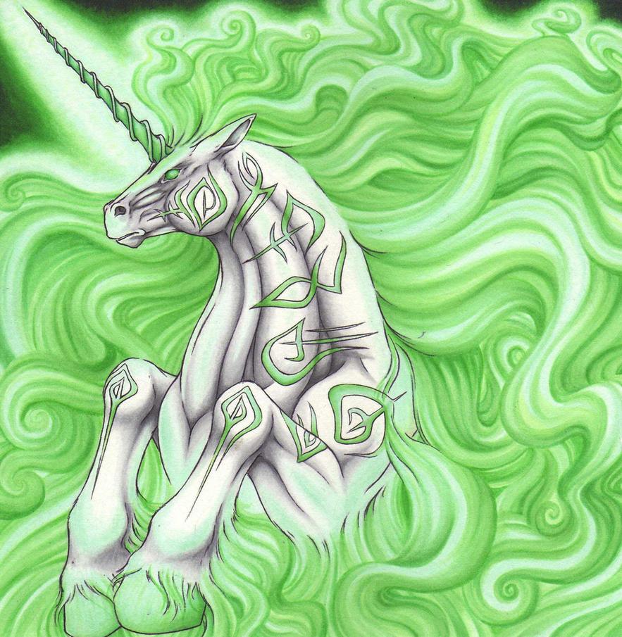 Runeblessed Unicorn by Ganjamira