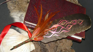 Pheonix - painted feather-quill