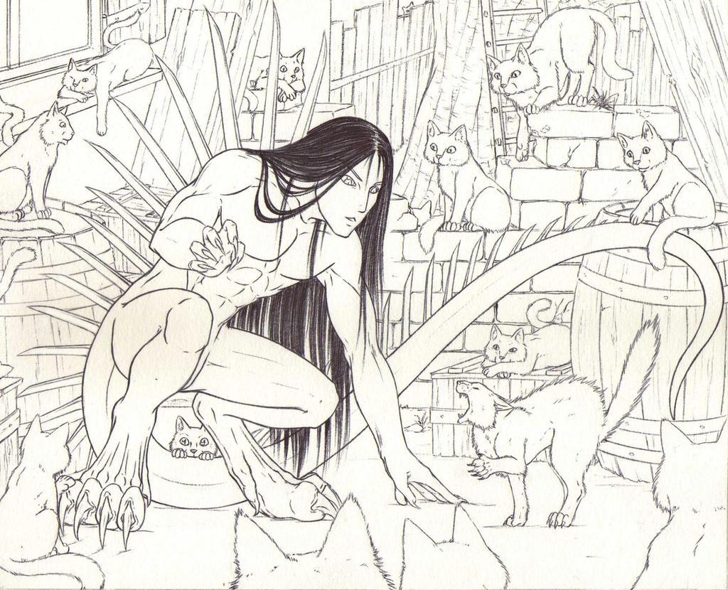 Catfight?! - Outlines by Ganjamira
