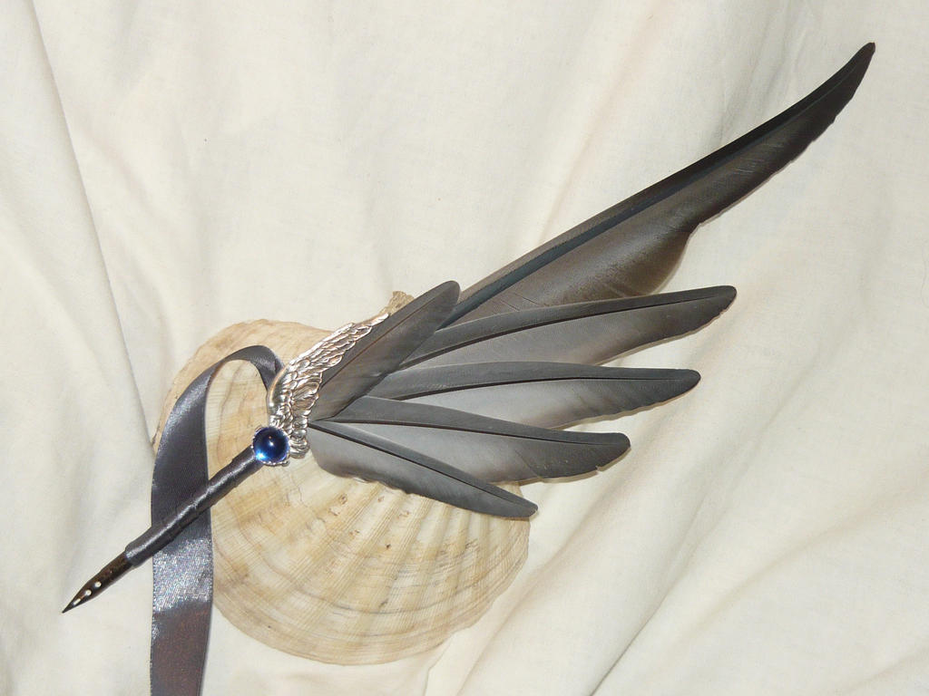 Wing of the Stormgriffon - handmade Featherquill by Ganjamira