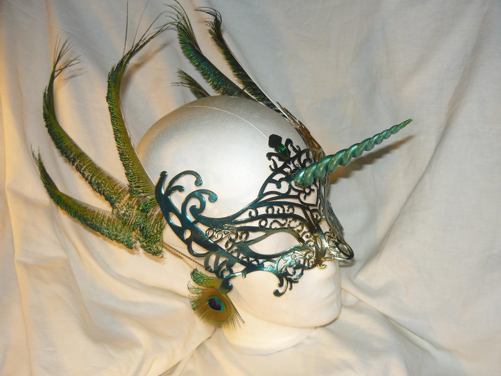 Spell of the Peacock - Mask with Horn by Ganjamira