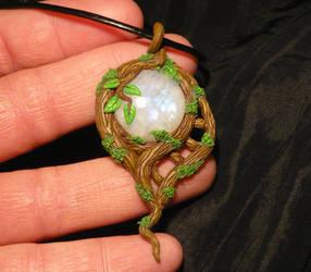 Elven Moon - handmade Pendant with Moonstone by Ganjamira