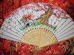Okami ~ Resting Goddess - handpainted Paperfan