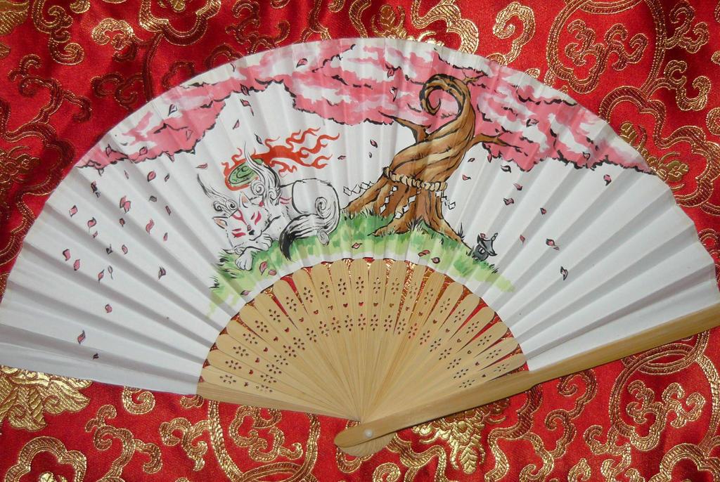 Okami ~ Resting Goddess II - handpainted Paperfan by Ganjamira