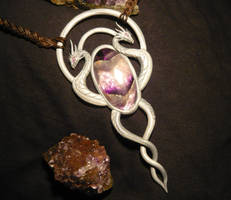 Silver Serpents Amulet - handmade Necklace