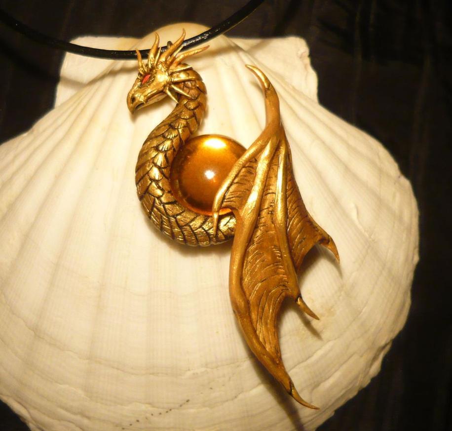 Sunkeeper Dragon - handsculpted Pendant by Ganjamira