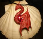 Crimson Guardian - handsculpted Dragon Pendant