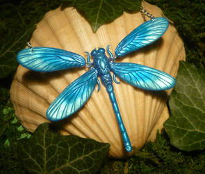 Calopteryx virgo - Dragonfly Necklace by Ganjamira