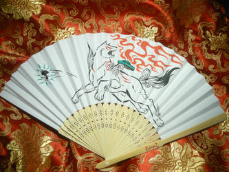Okami - handpainted paperfan No.3 by Ganjamira