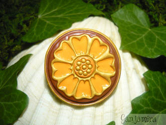 Lotus Stone - handmade Brooch by Ganjamira