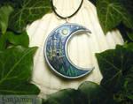 Enchanted Castle - handmade Moon Pendant