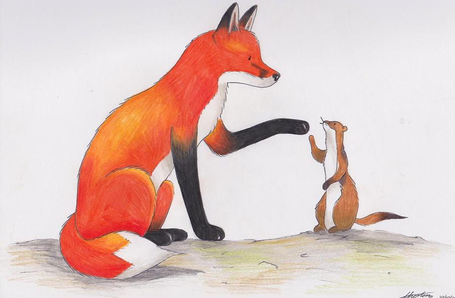 Hyaku Monogatari Fox_and_weasel_by_jazzytasha-d4cfa4b