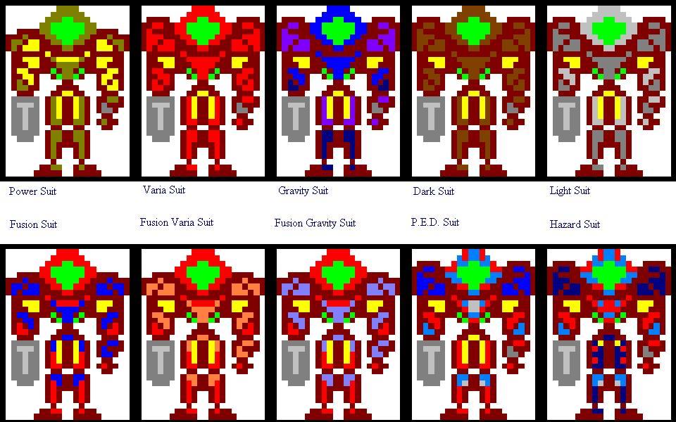 Samus Fusion Suit Sprites Samus Aran Hall of Armors by