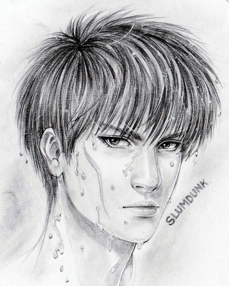 SLUMDUNK Kaede Rukawa Semirealistic Portrait by marvioxious89