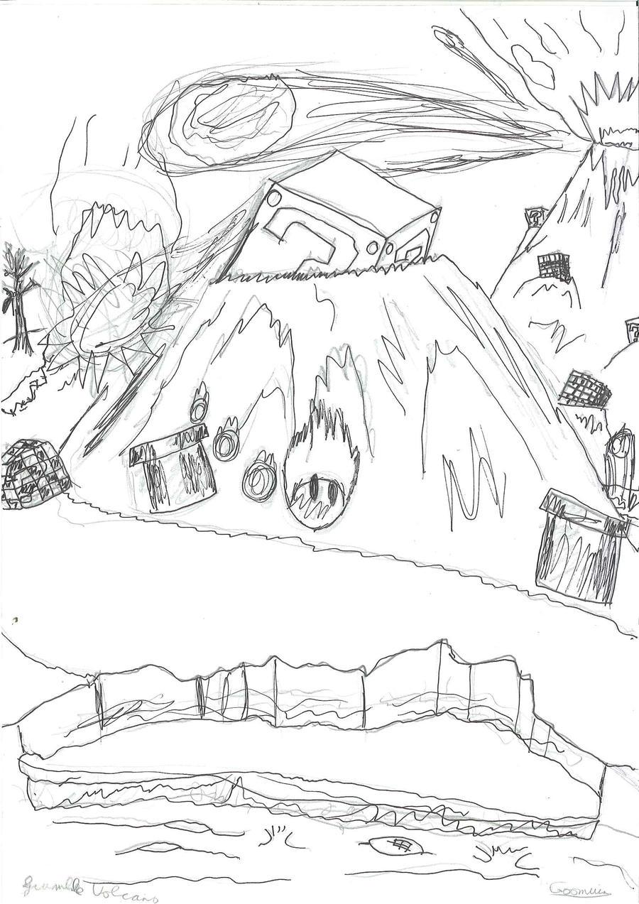 Line Drawing Volcano : Grumble volcano line art by goomuin on deviantart
