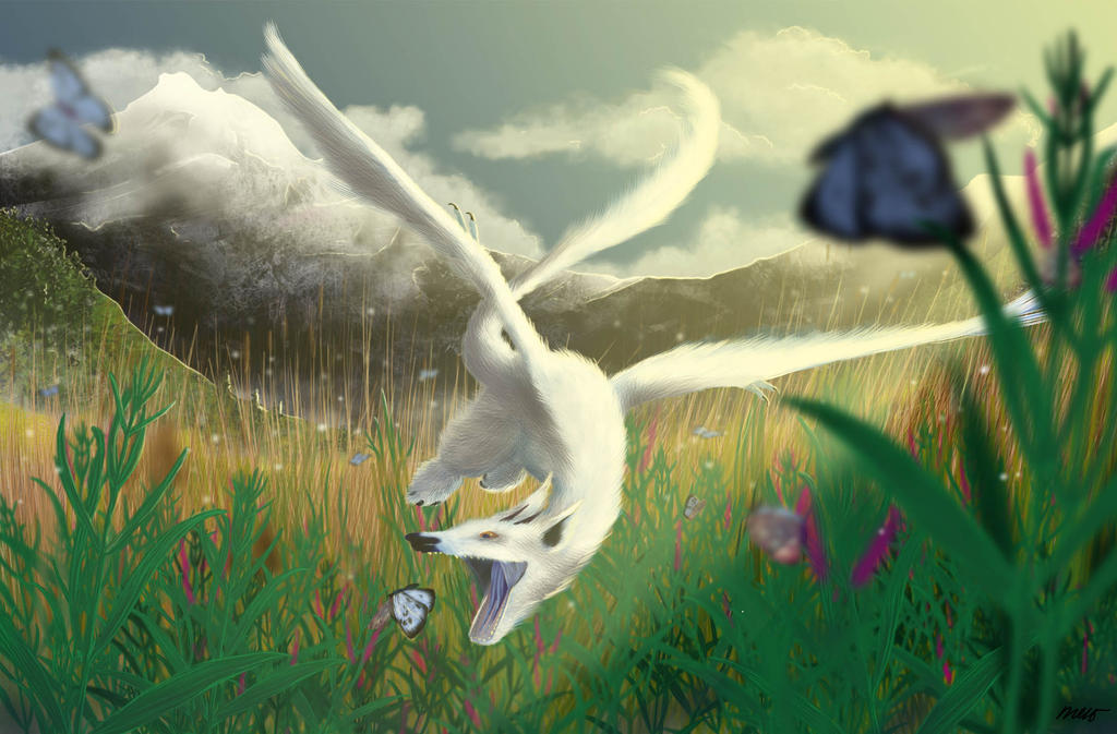 Snow Dragon In The Valley Of Butterflies By Another Darwin