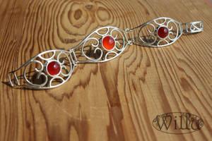 open-work silver bracelet with carneol