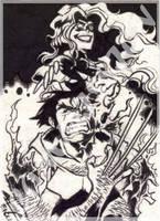 Commission - Wolvie n Phoenix by eisu