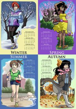 No Pink Ponies Seasonal calendar postcards