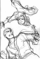 Avatar sketch - Aang vs Zuko by eisu