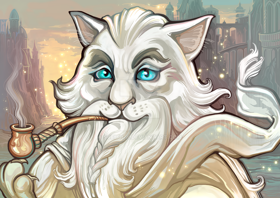 Catdalf the White (Catamancer Art) by SceithAilm