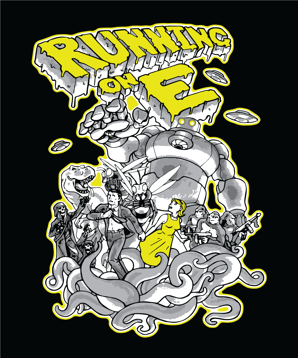 Running on E: Sci-Fi T-Shirt Design by WithintheMechanism