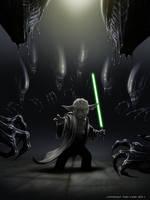 Aliens vs Yoda by TobyCarr