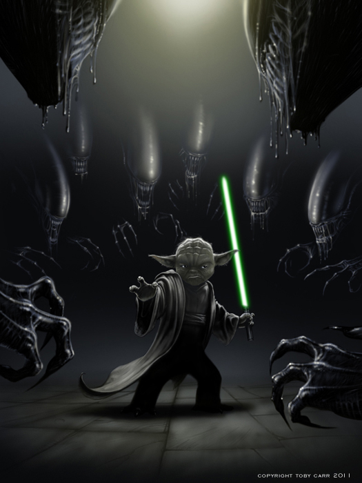 Aliens vs Yoda by TobyCarr