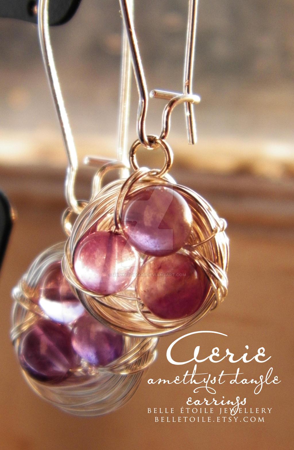 Aerie amethyst dangle earrings by zephyrofgod