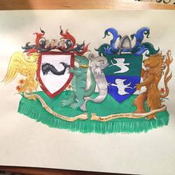 Anna and Gieffrei's Conjugal Heraldic Achievement