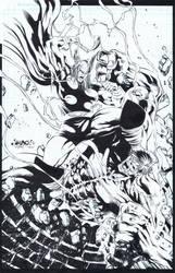 Thor vs. Hulk by knockmesilly