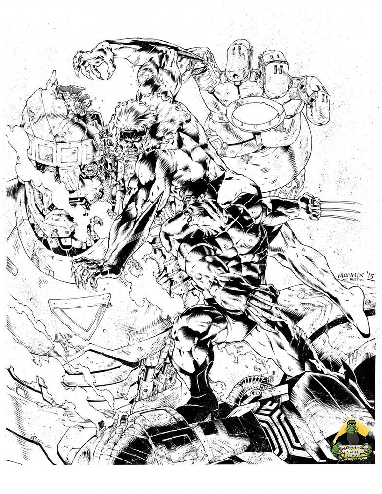 Wolverine vs. Sabretooth by knockmesilly