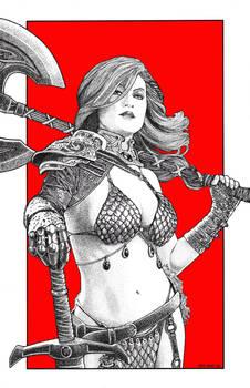 Red Sonja in Stippling