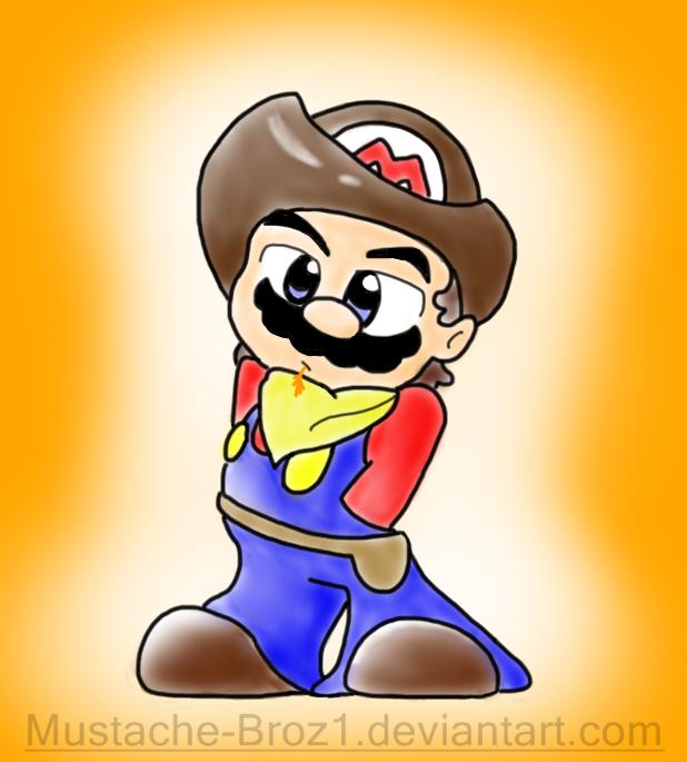Western Mario by Mustache-Broz1