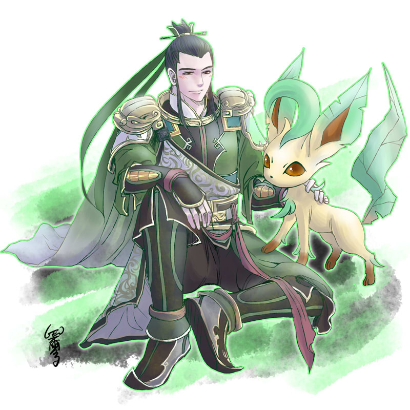 Liu Bei and Leafeon by GENgoodstick