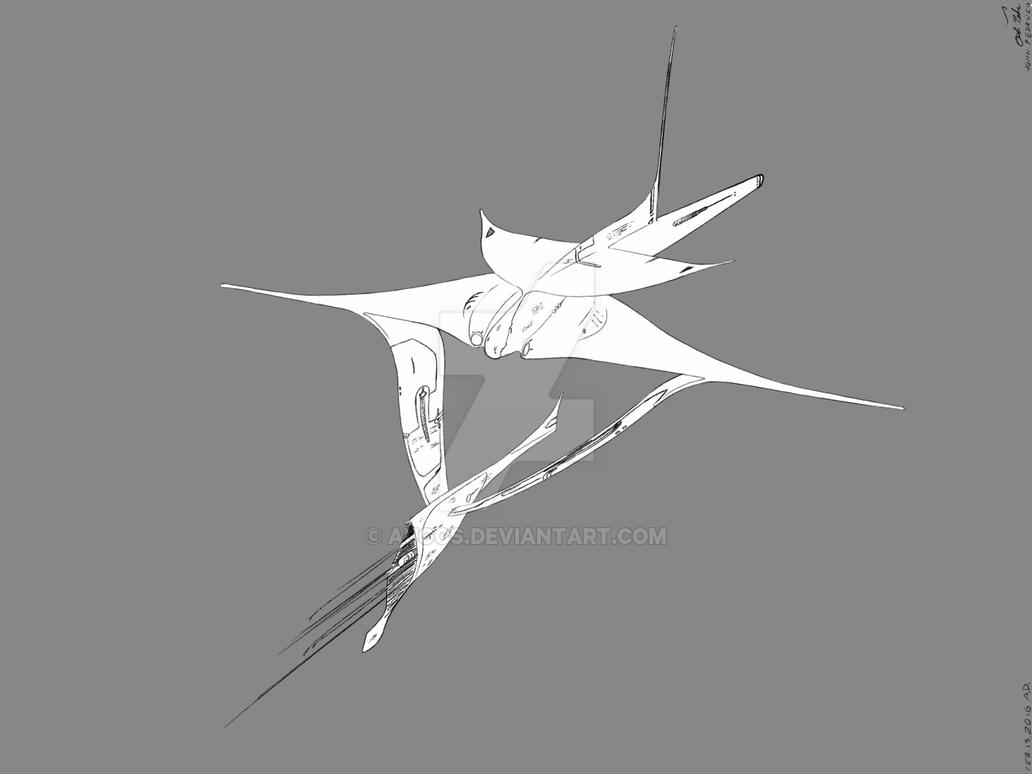 Alien Spaceship 2 lineart 1 by Augos