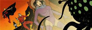 Science-fiction banner for Blastoff Comics - 2013