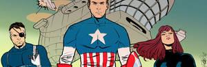 Captain America banner for Blastoff Comics